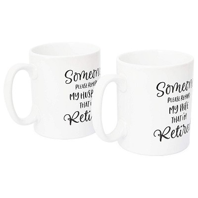 Sparkle and Bash 2-Pack White Funny Retirement White Coffee Mugs Tea Cup, Gag Gift for Husband & Wife