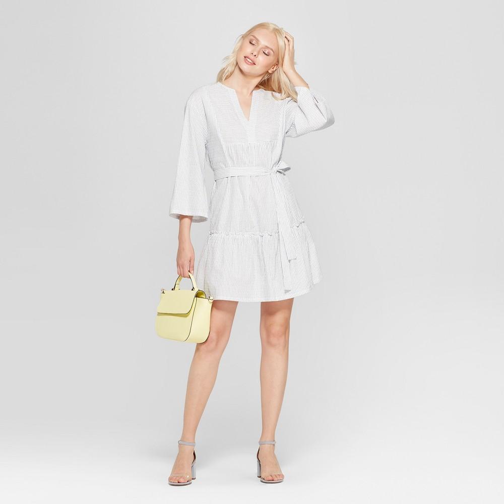 Women's Striped V-Neck Dress - A New Day White/Blue S