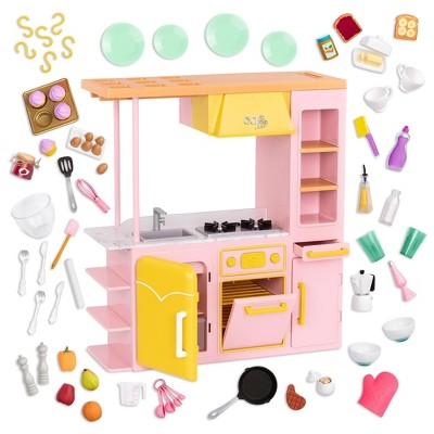 """Our Generation Sweet Kitchen Set with Play Food Accessories for 18"""" Dolls - Pink"""