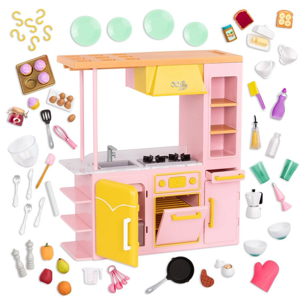 Our Generation Sweet Kitchen Set With Play Food Accessories For 18 34 Dolls Pink