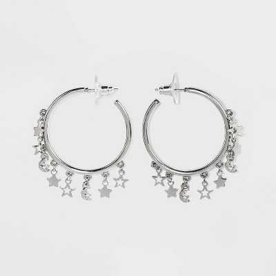Star and Moon with Crystal Acrylic Stones Charm Hoop Earrings - Wild Fable™ Silver
