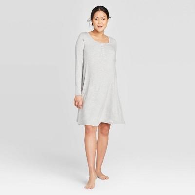 Maternity Long Sleeve Nursing Henley Dress - Isabel Maternity by Ingrid & Isabel™ Gray S