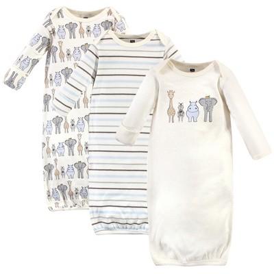 Hudson Baby Infant Boy Cotton Long-Sleeve Gowns 3pk, Royal Safari
