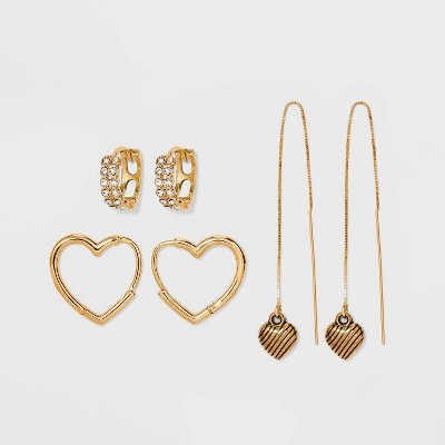 Hoop Heart and Drop Threader Trio Earring Set 3pc - Wild Fable™ Gold