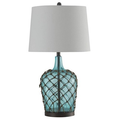 "30"" Cayos Rope Glass Table Lamp Blue - StyleCraft"