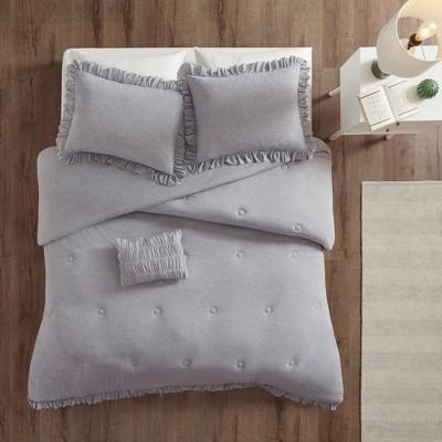 Kristy Full/Queen 4pc Jersey Knit Ruffle Comforter Set Gray