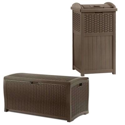 Suncast Trash Hideaway Outdoor Garbage & Outdoor Patio Storage Deck Box, Brown