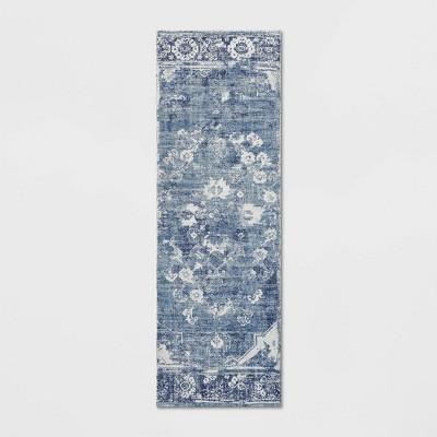 Distressed Floral Medallion Area Rug Blue - Threshold™