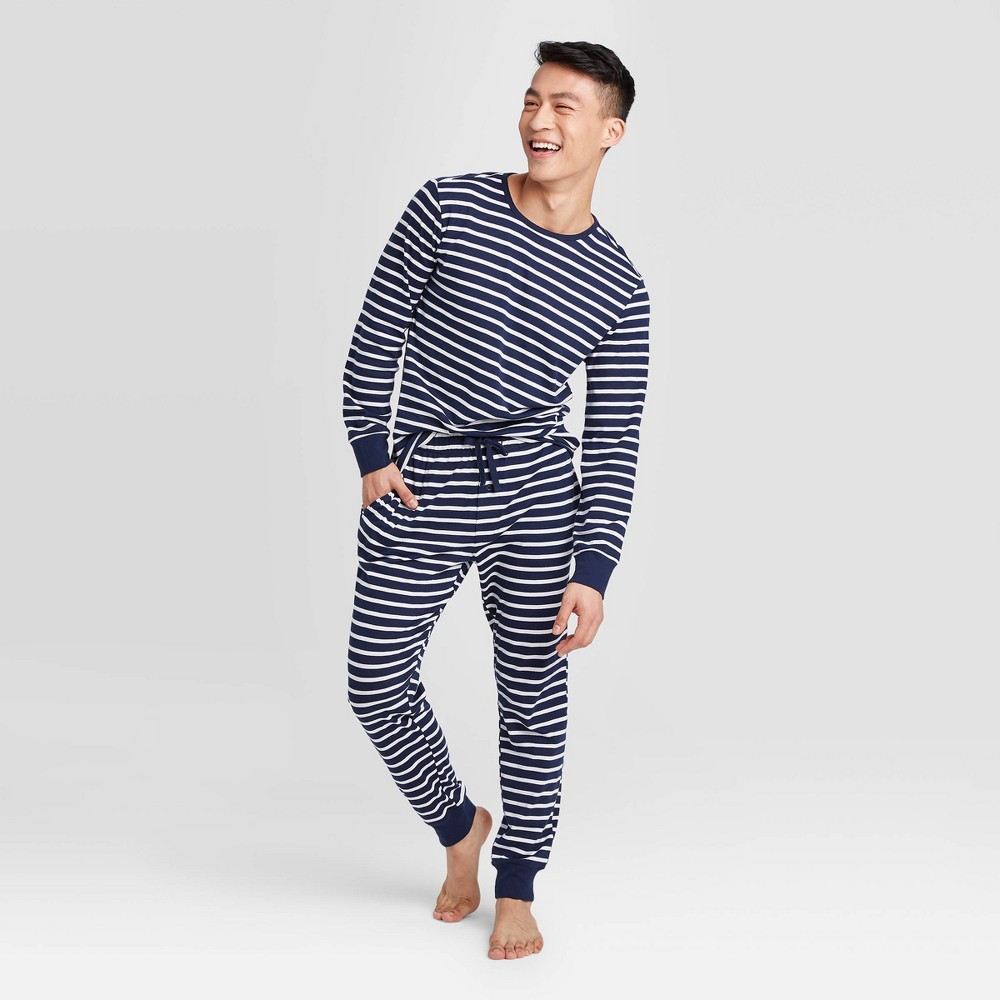 Image of Men's Striped Pajama Set - Navy L, Men's, Size: Large, Blue