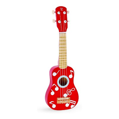 Hape E0603 First Kids Mini Wooden Ukulele Educational Toy Children's Tuneable Musical Instrument for Toddler Beginners, Dot Red