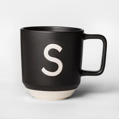 16oz Monogram Stoneware Mug Black/White S - Project 62™