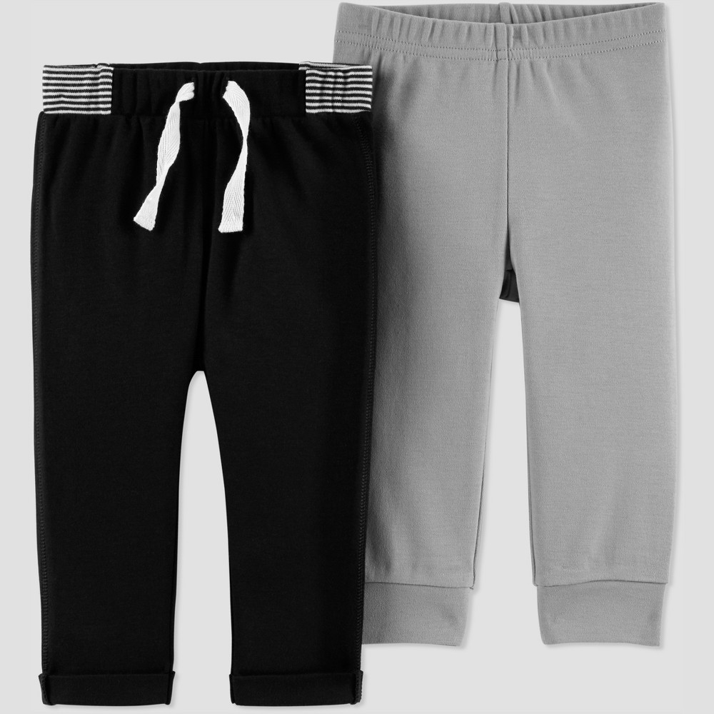Baby Boys' 2pk Pants - Just One You made by carter's Gray 3M, Black