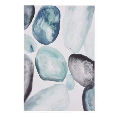 Pebbles Hand Embellished Canvas Blue 36 x24