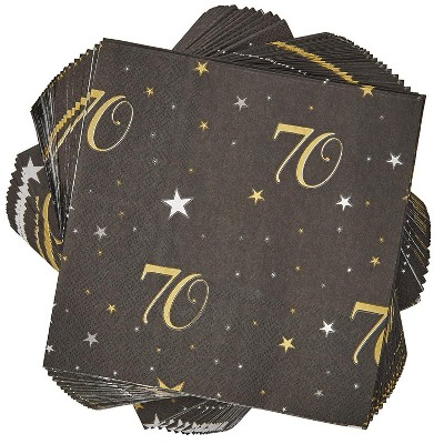 """Sparkle and Bash 100 Pack Black Gold 70th Birthday Anniversary Disposable Paper Napkins 6.5"""" Party Supplies"""