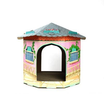 American Cat Club Round Cottage Cat House with Scratchboard - Aqua Blue