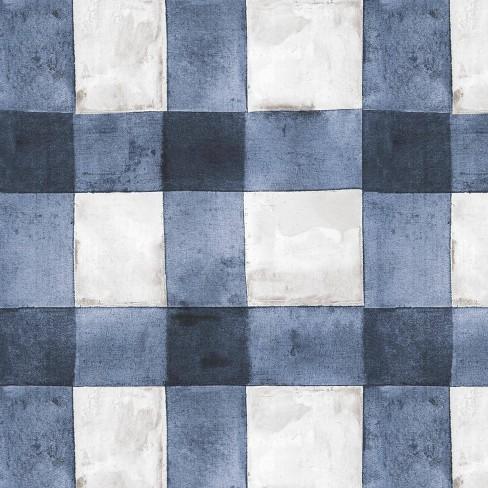 Roommates Buffalo Plaid Peel Stick Wallpaper Blue White Target