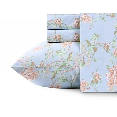 400 Thread Count Cotton Printed Sheets - Sateen Weave Sheet Set, Deep Pocket Ultra Soft Bedding - California Design Den