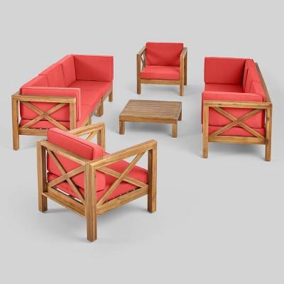 Brava 9pc Acaia Wood Patio Conversation Set - Christopher Knight Home