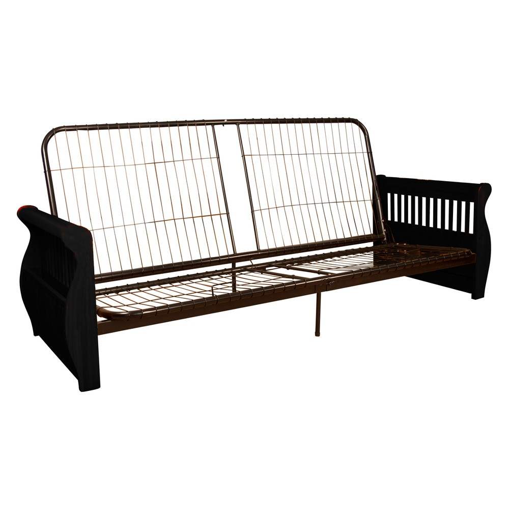 Storage Arm Futon Frame Queen Black Finished Wood Arms - Sit N Sleep