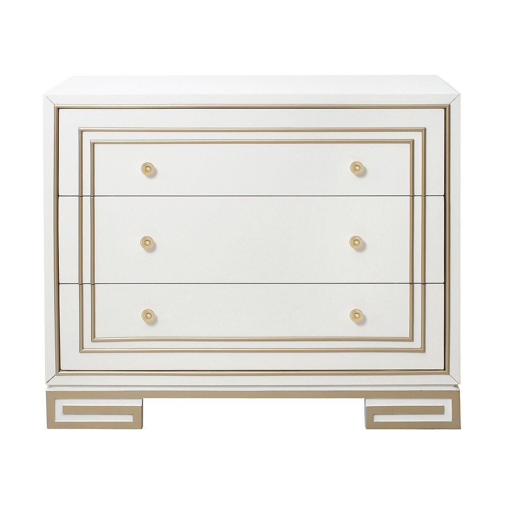 Bonner Modern Style Accent Drawer Chest With Gold Overlay White - Pulaski
