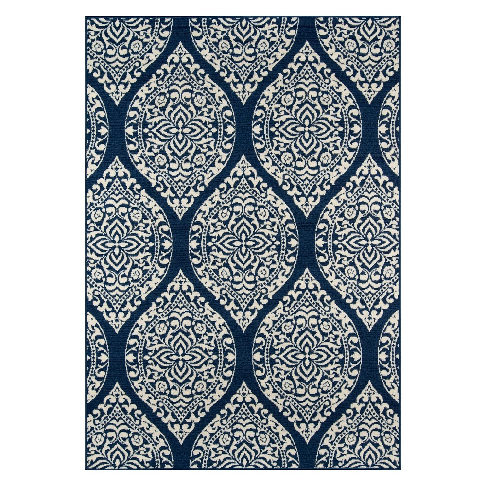 "Image of ""1'8""""X3'7"""" Damask Loomed Accent Rug Navy (Blue) - Momeni"""