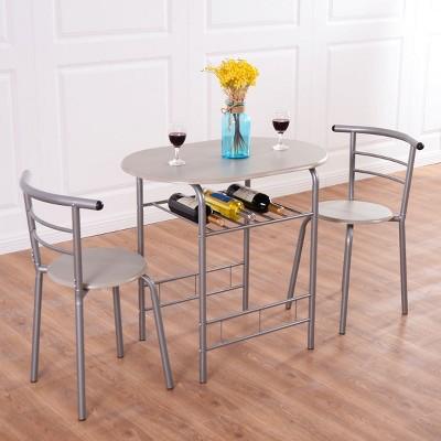 Costway 3 Piece Dining Set Table 2 Chairs Bistro Pub Home Kitchen Breakfast Furniture Grey