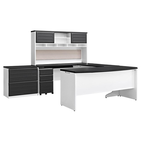 Pursuit U Shaped Desk With Hutch Bundle White Gray Ameriwood Home Target