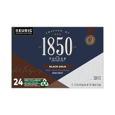 Folgers 1850 Black Gold Dark Roast Coffee - Keurig K-Cup Pods - 24ct