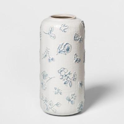9  x 4.2  Stoneware Matte Vase White/Blue - Threshold™