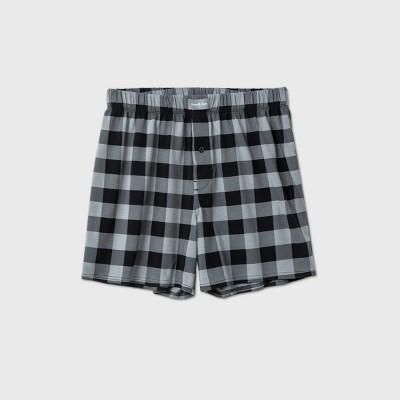 Men's Knit Plaid Boxers - Goodfellow & Co™ Black/Gray