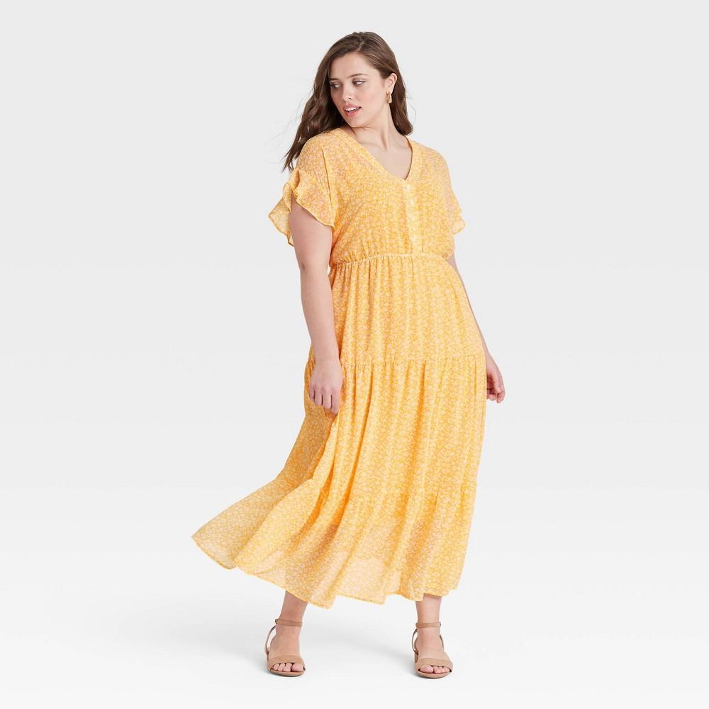 Women 39 S Plus Size Flutter Short Sleeve Chiffon Dress Ava 38 Viv 8482 Yellow 2x