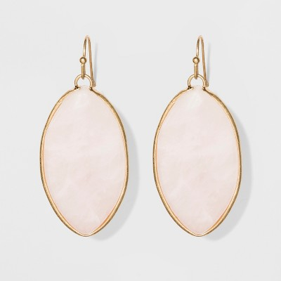 Marquis Shape Semi-Precious Rose Quartz Drop Earrings - Universal Thread™ Light Pink