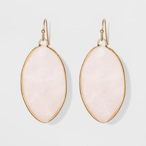 Marquis Shape Semi-Precious Rose Quartz Drop Earrings - Universal Thread™ Light Pink - image 1 of 3
