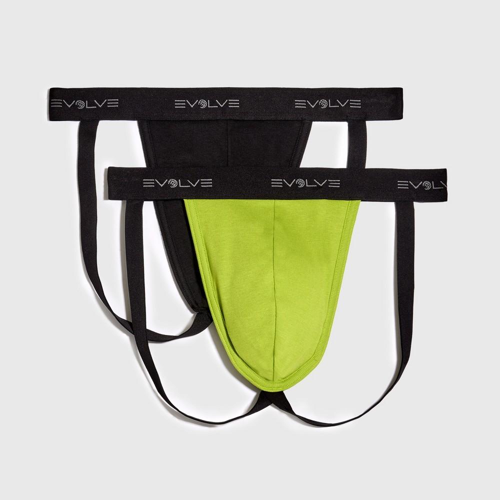 Men's Evolve by 2(X)Ist 2pk Cotton Jock Strap - Black/Green S, Black Green