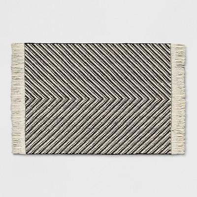 Black/White Zig Zag Woven Area Rug 2'6 X4' - Project 62™