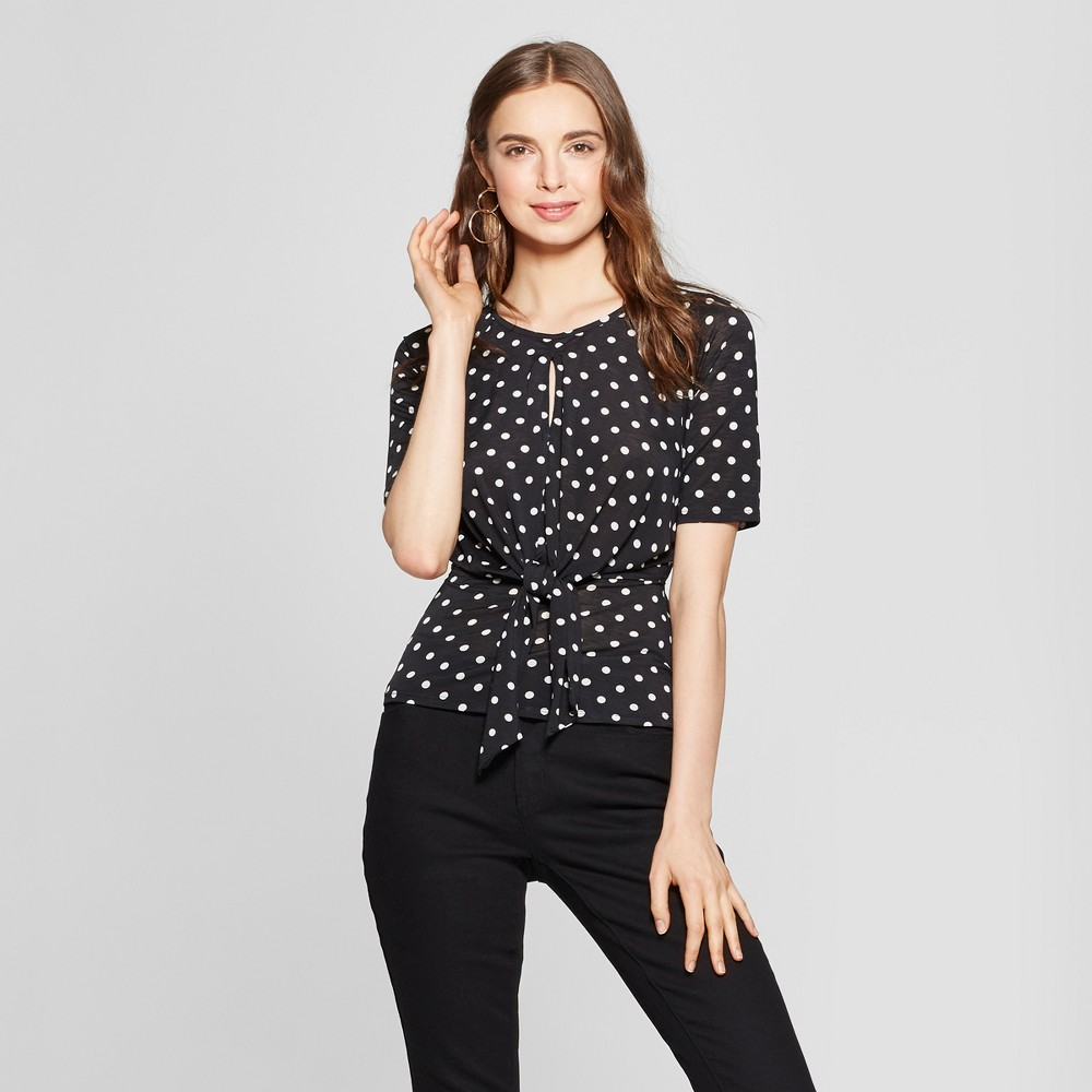 1930s Style Blouses, Shirts, Tops | Vintage Blouses Womens Polka Dot Short Sleeve Knot Front Top - Lily Star Juniors BlackWhite XL $22.48 AT vintagedancer.com
