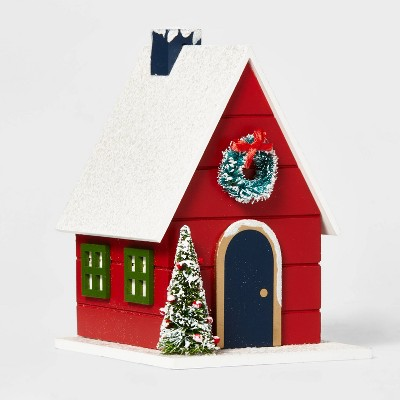 Wood House Building Decorative Figurine Red - Wondershop™