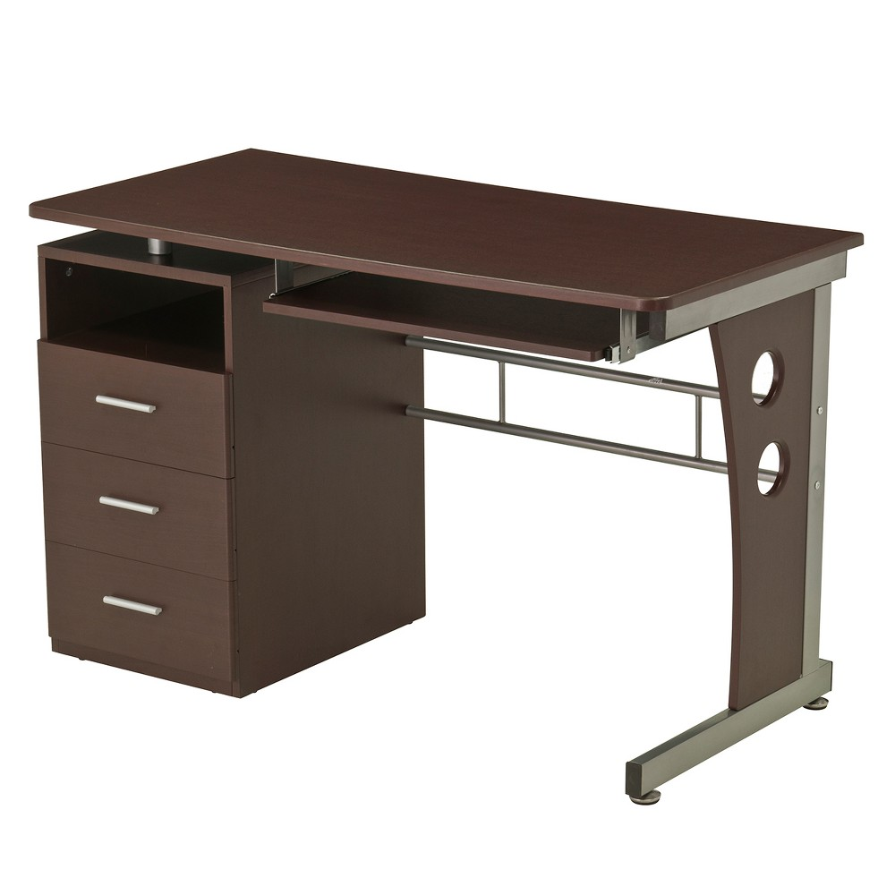 Computer Desk with Ample Storage Brown - Techni Mobili You'll love the open design of the Computer Desk with Ample Storage from Techni Mobili while also enjoying all of the storage space you get with it. Three drawers and an open cubby allow you to get organized and ready to work. The spacious desktop has plenty of room for your laptop or desktop computer while having room to spare. Keep the desktop clutter-free with the pull out keyboard tray. Color: Brown.