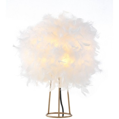 "16"" Metal Stork Feather Table Lamp (Includes LED Light Bulb) White - JONATHAN Y"