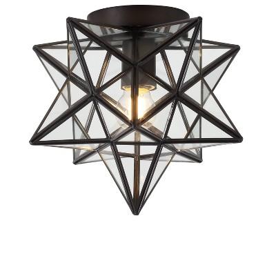 "12"" Metal/Glass Stella Moravian Star Flush Mount (Includes Energy Efficient Light Bulb) - JONATHAN Y"