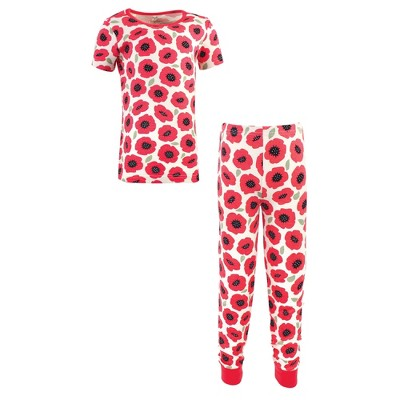 Touched by Nature Toddler and Kids Girl Organic Cotton Tight-Fit Pajama Set, Poppy