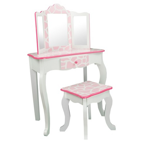 Giraffe Vanity And Stool Set With Mirror Wood Baby Pink White