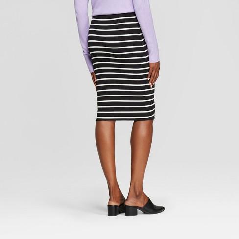 baa3130ce Women's Striped Knit Skirt - A New Day™ Black/Cream Stripe XXL : Target
