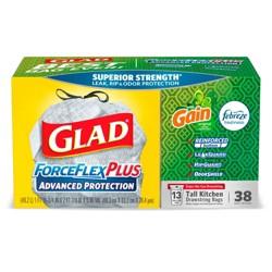 Glad ForceFlex Plus 13gal Tall Kitchen Drawstring Trash Bags - 38ct
