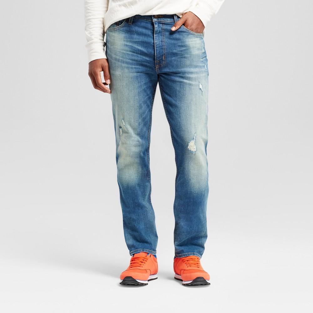 Men's Athletic Fit Destructed Jeans - Goodfellow & Co Medium Wash 32x32, Blue