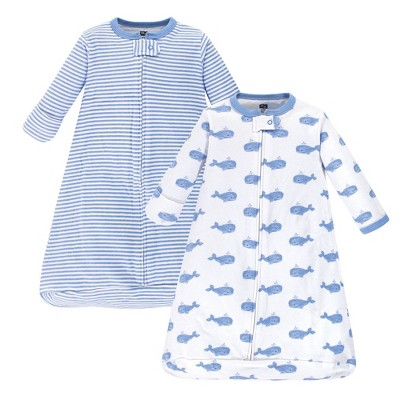 Hudson Baby Unisex Baby Cotton Long-Sleeve Wearable Sleeping Bag Sack Blanket - Blue Whales 3-9M