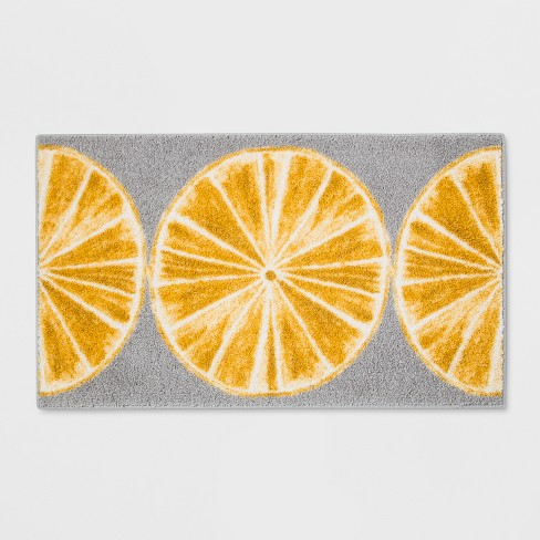 "34""x20"" Slices Kitchen Rug Gray/Yellow - Threshold™ - image 1 of 2"