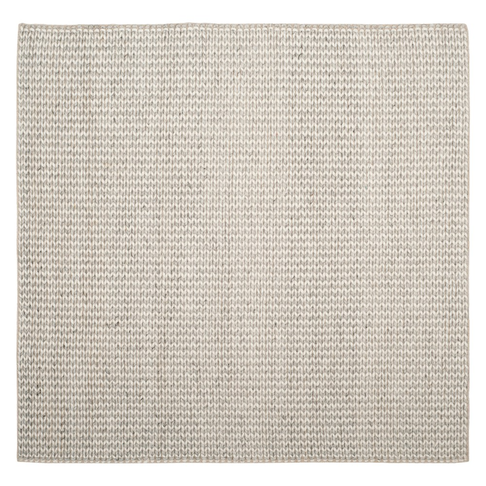 6'X6' Solid Woven Square Area Rug Ivory/Silver - Safavieh