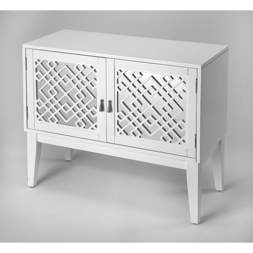 Ursula Mirrored Console Cabinet White - Butler Specialty