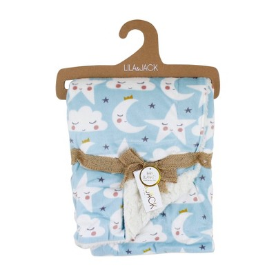 Lila and Jack Baby Blanket Blue Star Moon Mink With Natural Sherpa Backing